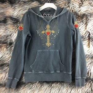 Lucky Brand Pullover Hoodie Medium Cross Sewn A14